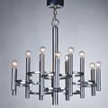 Lightolier elevenlight chandelier usa 1970s chromed steel unmarked fixture 25 12 x 25 dia