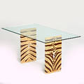 Style of karl springer table usa 1980s painted parchment acrylic glass unmarked 29 x 59 x 33 12