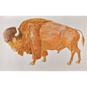 Don nice american b 1932 lithograph in colors of a buffalo 1976 printed by landfall press inc chicago signed and dated 31 34 x 48