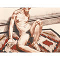 Philip pearlstein american b 1924 nude on navajo rug 1972 printed by landfall press inc chicago signed and noted copyright impression in pencil 24 12 x 34 sheet