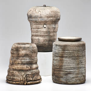 Rob sieminski two lidded vessels and one similar vase usa 1980s stoneware and birch bark unmarked tallest 10 34 x 7 12 dia