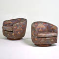 Milo baughman thayer cogman pair of tilt swivel lounge chairs highpoint nc 1970s walnut upholstery unmarked 26 x 28 x 31