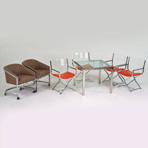 Style of milo baughman dining table four armchairs two lounge chairs usa 1970s chromed steel glass upholstery vinyl unmarked table 28 x 32 x 32 armchairs 32 x 22 x 19 lounges 29