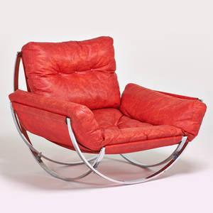 Style of milo baughman oversized lounge chair 1970s chromed steel vinyl charlton upholstery label 32 x 31 x 39