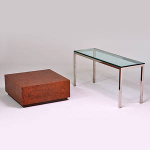 Style of milo baughman console and coffee table usa 1970s chromed steel glass burl wood console 29 x 60 x 20 burl 15 x 36 x 36