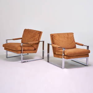 Milo baughman thayer coggin pair of lounge chairs high point nc chromed steel upholstery upholstery labels each 29 x 30 x 32