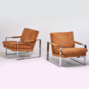 Milo baughman thayer coggin pair of lounge chairs high point nc chromed steel upholstery upholstery labels each 29 x 30 32