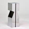 Kovacs illuminated pedestal chromed and enameled steel frosted glass unmarked 34 x 12 x 12