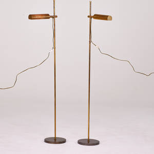 Koch  lowy pair of adjustable reading lamps usa 1970s patinated brass enameled metal unmarked 53 x 15 x 8 12