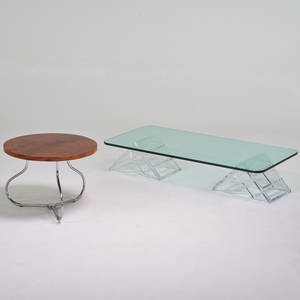 Modern two pieces lucite and glass coffee table 1970s together with mahogany and chromed steel side table both unmarked coffee table 12 x 60 x 30