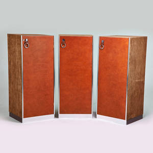 Guido faleschi pacemarani three cabinets italy 1960s leather suede chromed steel polished aluminum 54 x 24 x 23 12