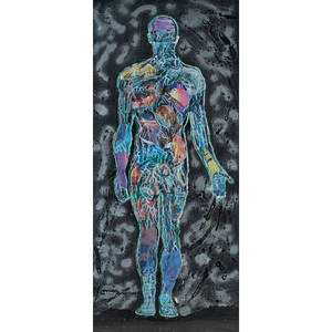 Twodimensional figurative artwork mixed media of a male and female figure both framed larger 70 18 x 30 58 sight