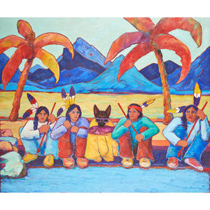Mary yancey walker american 19352014 oil on canvas of native americans in a colorful southwest scene signed 48 x 54 12