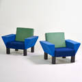Ettore sottsass knoll pair of westside armchairs new york ca 1990 upholstery enameled steel signed dust cover 30 x 38 12 x 30