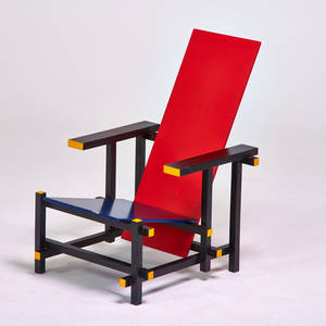 After gerrit rietveld palazzetti red and blue chair italy 1980s enameled woods labeled 35 x 24 x 32