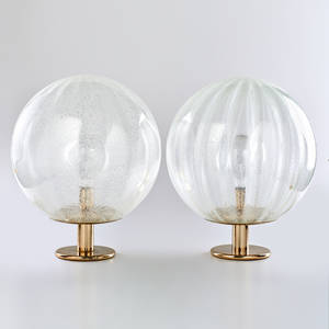 La murrina pair of bubbled glass globe lamps italy 1970s unmarked 20 x 19 dia