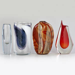 Midcentury glass four vases two sommerso one with oblong inclusions and one similar italy and scandinavia ca 1990s most with etched signature largest 10 12 x 6 dia