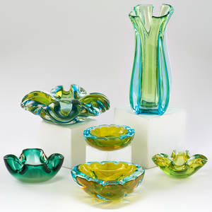 Murano six pieces sommerso vase two floral bowls and three dishes italy late 20th c hand blown glass unmarked vase 10 x 4 34 dia