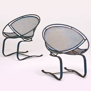 Salterini pair cantilevered lounge chairs usa 1960s enameled steel unmarked each 30 12 x 30 x 26