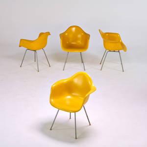 Charles and ray eames herman miller set of four shell armchairs zeeland mi 1960s plasticreinforced fiberglass chromed steel rubber shock mounts 31 12 x 25 x 24