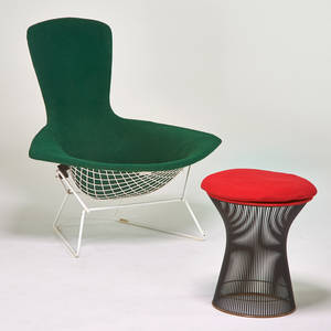 Harry bertoia  warren platner knoll internationa bird lounge chair and wire stool usa 1970s enameled metal upholstery upholstery label to chair 38 x 38 x 38 stool 20 x 18 dia