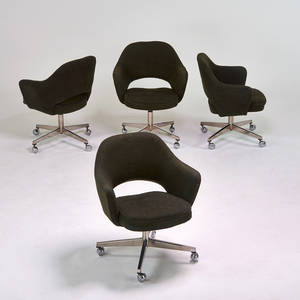 Eero saarinen knoll international set of four executive armchairs new york 1970s chromed steel upholstery manufacturers labels each 31 x 27 x 25