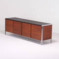 Style of florence knoll cabinet usa 1970s chromed steel walnut vinyl unmarked 26 x 78 12 x 20 12