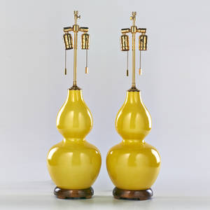 Designer pair of double gourd lamps late 20th c glazed porcelain walnut and brass fittings unmarked 27 12 x 8 dia