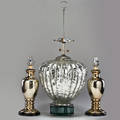 Mercury glass three table lamps monumental gourdshaped crackle and balustershaped pair 1970s chromed enameled and silver leafed fittings unmarked largest 38 x 15 dia