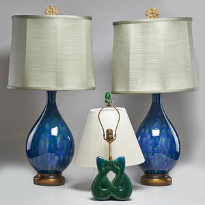 John boomer attr pair of balustershaped glazed ceramic table lamps with silk shades together with boudoir lamp in afound condition and similar glaze usa 1950s unmarked tallest 36 34 x 16