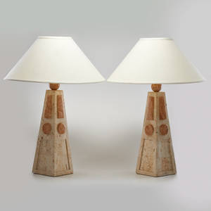 Maitland smith pair of table lamps usa late 20th c tessellated marble unmarked 34 x 22 dia
