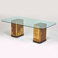 Mastercraft attr dining table usa 1980s patinated brass stained and painted wood beveled glass unmarked 29 12 x 87 x 47