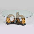 Mastercraft attr circular coffee table usa 1970s brass plated and enameled metal unmarked 17 12 x 53 34