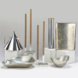 Michael graves alessi etc six pieces chromed steel tea kettle pair of amabiente candlesticks two nambe aluminum bowls and two similar chromed vases late 20th c most marked 20 12 x 4