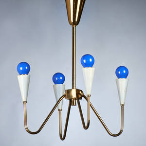 Italian fourlight pendant lamp ca 1950s brass enameled metal unmarked 24 12 x 9 12 sq