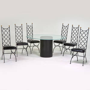 Afra and tobia scarpa table together with six tallback chairs italyusa 1980s1960s leather glass enameled steel brass vinyl table 28 12 x 50 x 60 chairs 44 x 17 x 21