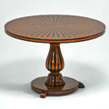 Rho mobili depoca pedestal table italy 1970s metal tag 24 12 x 37 12 dia