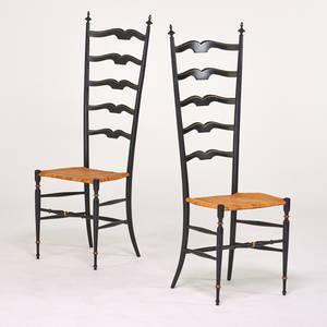 Italian pair of chiavari tallback armchairs ca 1950s ebonized and gilded wood caning unmarked 49 x 17 x 15