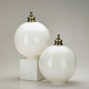 Venini attr pair of striated ceiling globes italy ca 1950s glass chromed metal unmarked each12 x 9 dia