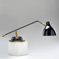 French adjustable swivelhead desk lamp ca 1950s brass enameled metal unmarked 30 x 7 12 dia