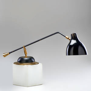 French adjustable swivelhead desk lamp ca 1950s brass enameled metal unmarked 30 x 7 12 dia