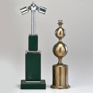 Phillipe barbier etc table lamp with graduated spheres frosted glass wall sconce and art deco table lamp france chromed steel leather frosted glass unmarked barbier 17 12 x 5 14 dia