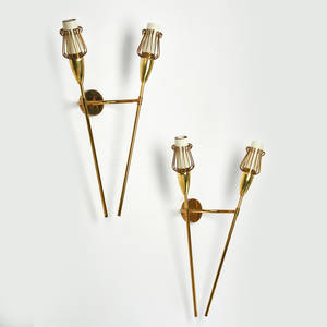 Style of arlus pair of torchshaped double wall sconces ca 1950s brass enameled metal unmarked each 18 x 12 x 4 12