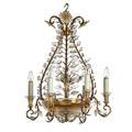 Style of maison bagues chandelier 1960s brass glass enamel unmarked 27 12 x 21