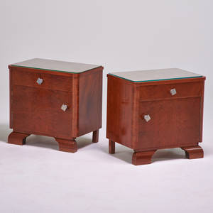 French art deco pair of nightstands 1920s burl mahogany nickeled pulls each 20 12 x 21 x 14