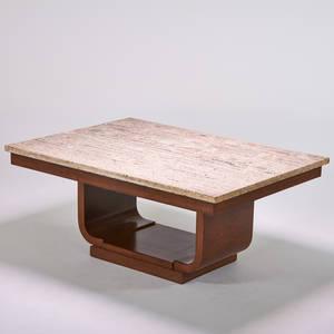 European art deco dining table 1920s burlwood travertine unmarked 29 12 x 69 x 49 12