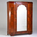 French art deco armoire fitted with four shelves and a single drawer 1930s mahogany mother of pearl hardwood inlay mirrored glass brass unmarked 86 x 64 12 x 23