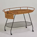 Style of frederick weinberg barcart usa 1950s enameled steel woven wicker unmarked 28 12 x 42 x 24