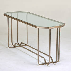 American art deco console table 1930s matte chromed steel glass unmarked 31 x 72 x 24