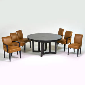 american art deco dining table and six chairs two arm and four side 1920s lacquered wood art deco dining arm